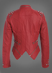 Red Studded PU Leather Slim Fit Moto Jacket