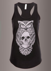 Black skull and owl gothic tank top