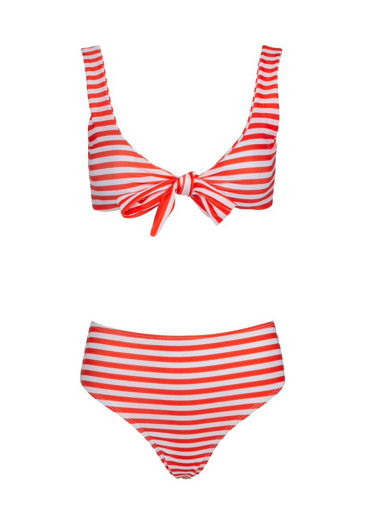 Red and white striped bikini set