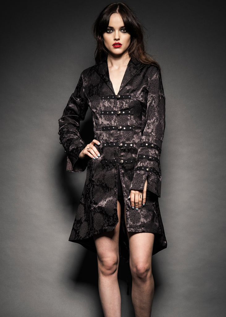 Womens black gothic coat