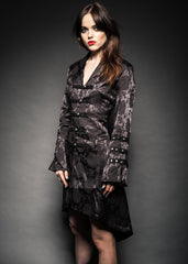 Black brocade goth coat