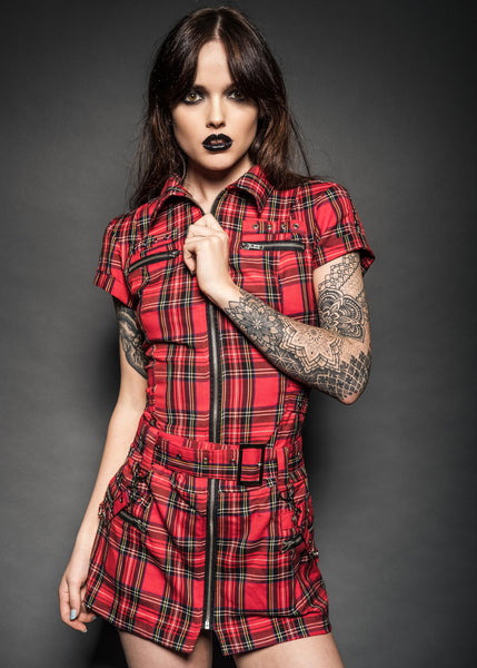 London Calling Plaid Mini Dress with Buckles and Lacing