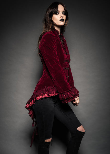 Velvet Vision Burgundy Tail Jacket with Back Lacing