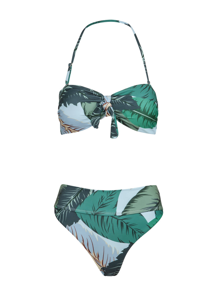 Tropical leaf print swimsuit