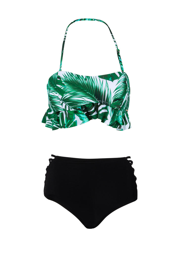 Beach Escape High Waisted Tropical Two-Piece Swimsuit with Flounce