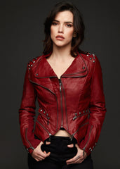 Red leather jacket with studs