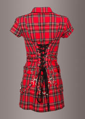 Red plaid dress with buckles