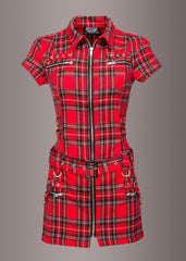 Womens red tartan dress