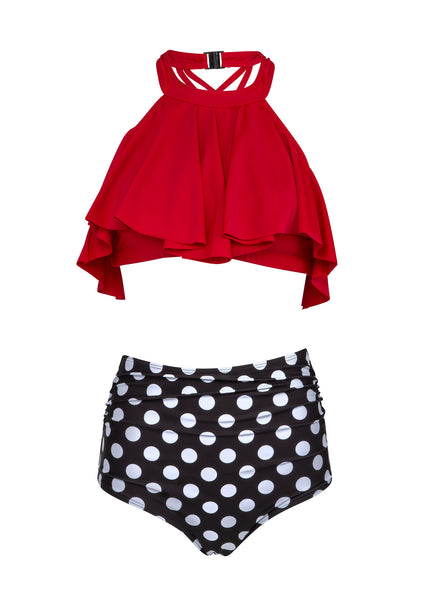 Polka dot high waisted swimsuit