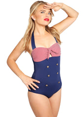 50s Retro Sailor Ahoi Nautical One Piece Swimsuit
