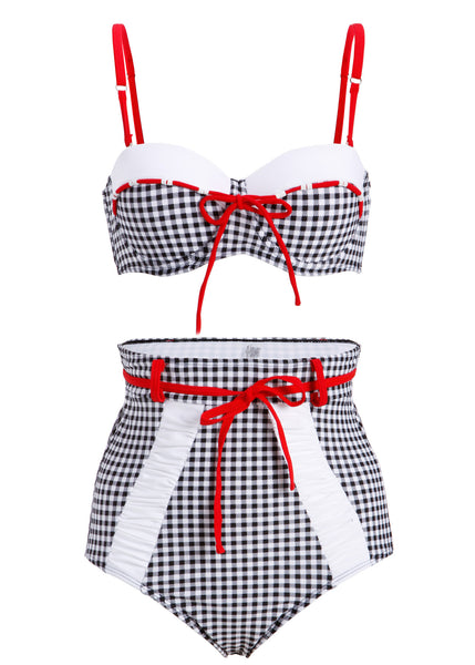Plaid high waist bikini