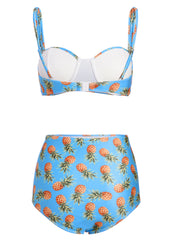 Tropical Flair Pineapple High Waist Bikini Set