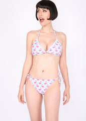 It's Flamingo Time Turquoise Blue Two Piece Swimsuit