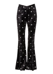 Star print velvet trousers