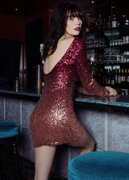 Diamond Girl Ombre Sequin Longsleeve Dress
