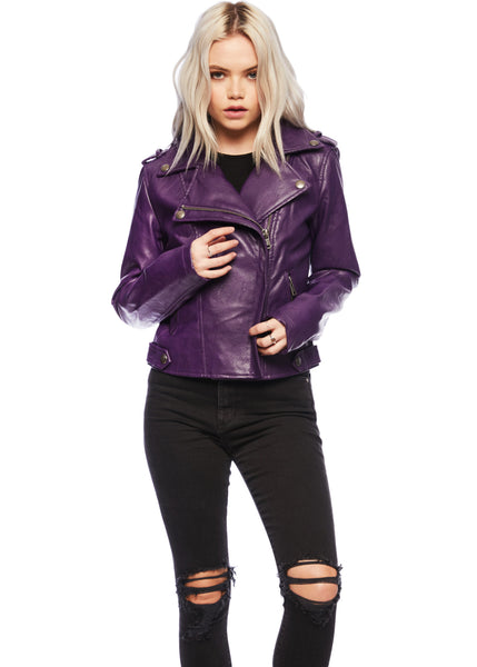 purple biker jacket