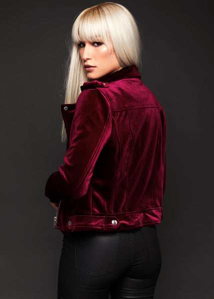 You Could Be Mine Burgundy Velvet Moto Jacket