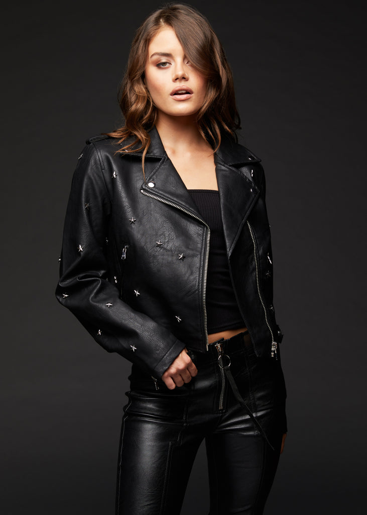 black moto jacket with star studs