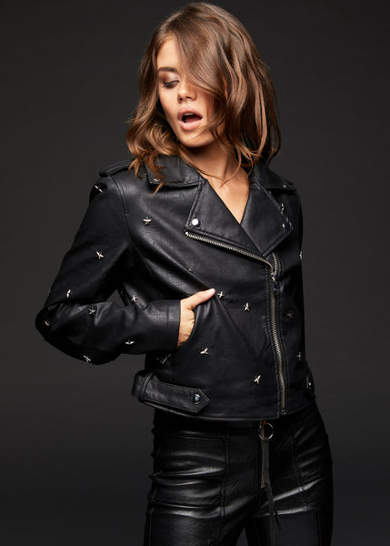 black biker jacket with star studs