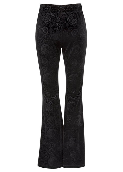 black velvet flare trousers