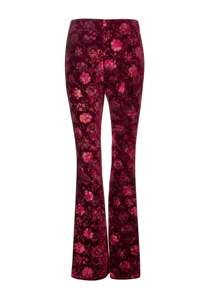 floral velvet flared trousers