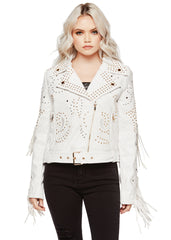 white leather jacket with studs