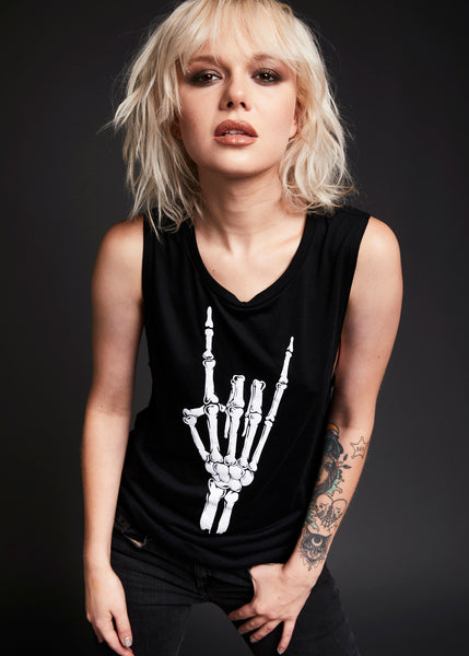 Black skeleton hand tank top