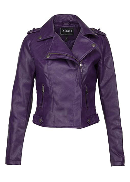 purple faux leather jacket