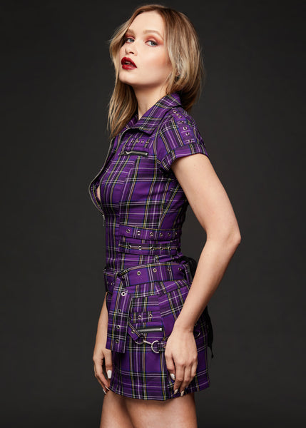 purple plaid punk dress
