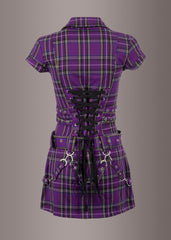 Punk Rock Girl Purple Plaid Mini Dress