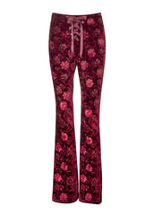 red velvet flared trousers