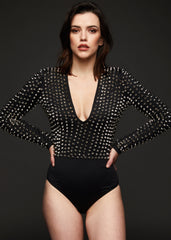 black bodysuit with studs