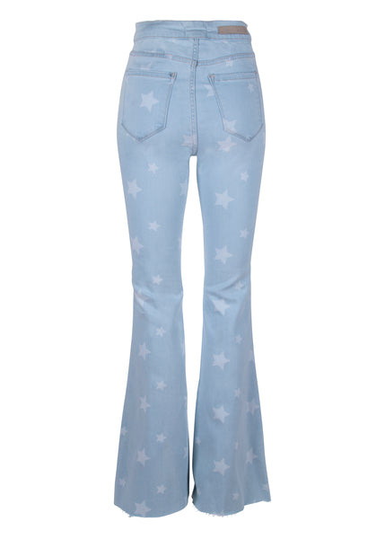 star print denim bell bottom pants