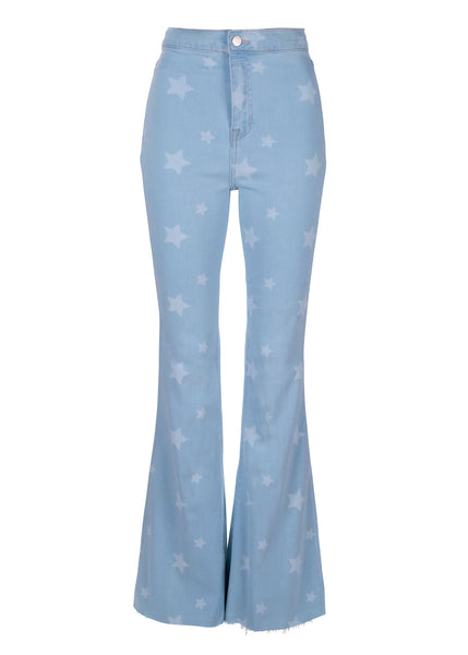 star print denim flare jeans