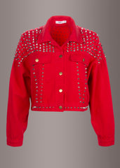 red denim jacket with studs