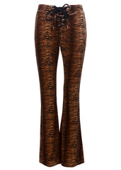 tiger print flare trousers