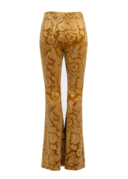 yellow velvet flared trousers