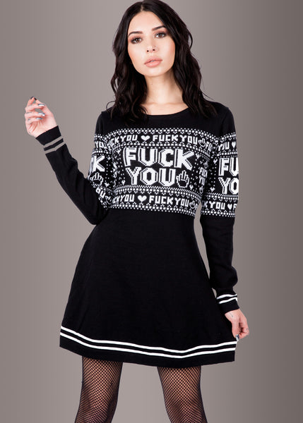 Sourpuss Clothing FUCK YOU Totenkopf Sweater Strickkleid