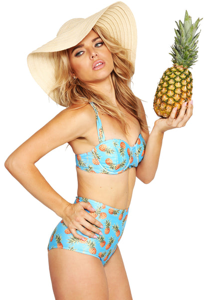 Türkiser Ananas Retro Pin Up Bikini mit hoher Taille (2-tlg. Set)