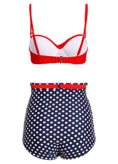 Do The Polka Pünktchen Retro Damen Bikini mit hoher Taille (2-tlg. Set)