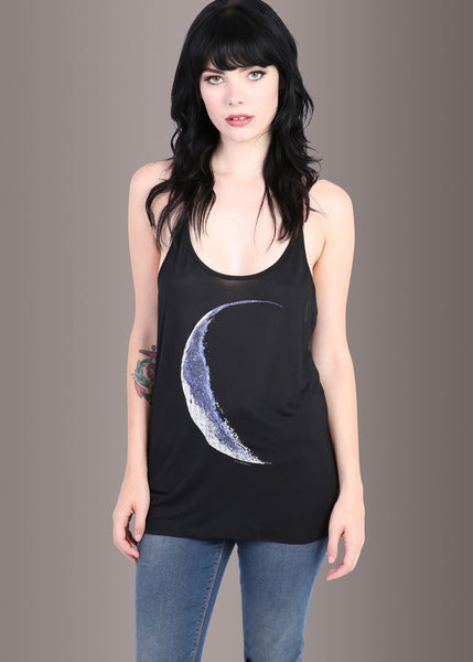 Schwarzes Mond Print Moonchild Loose Fit Tank Top