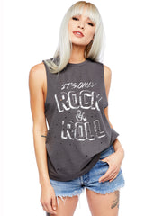 Graues It's Only Rock'n'Roll Damen Tank Top im Destroyed Look