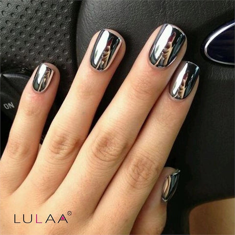 2pc Set Silver Mirror Effect Metallic Nail Polish - Varnish Top Coat - Nails Art - Priced to Love