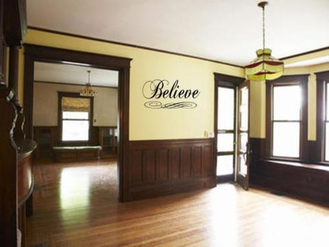 "BELIEVE Wall Art Decal Sticker Fancy Home Quote 36"" - Priced to Love"