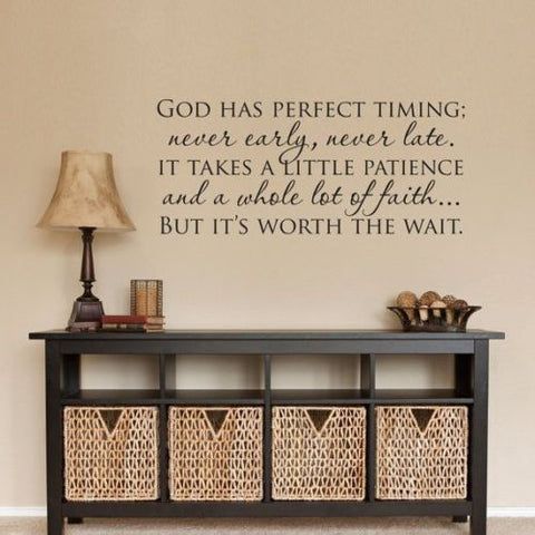 GOD HAS PERFECT TIMING Christian Wall Decal Vinyl Words Lettering Decor Sticker - Priced to Love