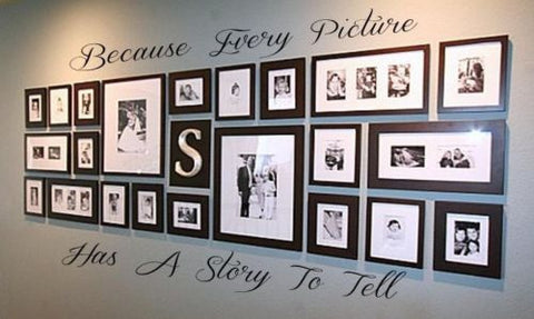 BECAUSE EVERY PICTURE HAS A STORY TO TELL Wall Decal Vinyl Decor Words Sticker - Priced to Love