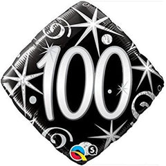 Black & Silver 100th Foil Balloon