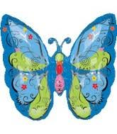 Blue Butterfly Supershape Foil Balloon