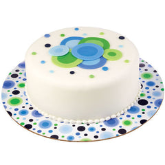 Blue Circles Round Cake Board