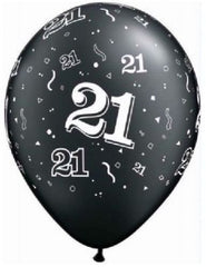21st Birthday Balloons Black
